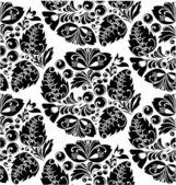 Tiled floral black background — Stock Vector