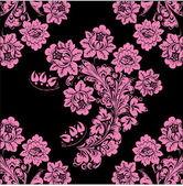 Black and pink flower background — Stock Vector