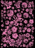 Design s růžovými květy na černém pozadí — Stock vektor