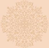 Beige circle foliage decoration — Stock Vector