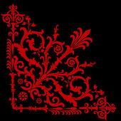 Red on black corner pattern — Stock Vector