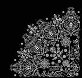 Quadrante branco floral enrolado — Vetorial Stock