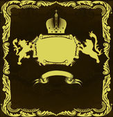 Golden heraldic frame with lions — Stock Vector