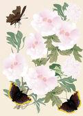 Flores cor de rosa e borboletas marrons — Vetorial Stock