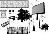 Billboard e altri elementi del parco — Vettoriale Stock