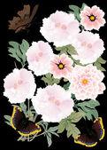 Dark butterflies and pink flowers — Stock Vector