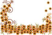 Små gula blommor halv frame — Stockvektor
