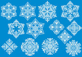 Thirteen white snowflakes collection — Stock Vector