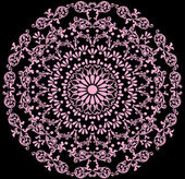 Pink on black color round pattern — Stock Vector