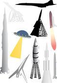 Ilustración de colección de cohete — Vector de stock