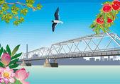 Dlouhý most přes řeku letní — Stock vektor