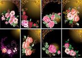 Rosas en colección de marcos — Vector de stock