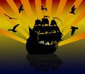Gulls above big sailer at sunset — Stock Vector