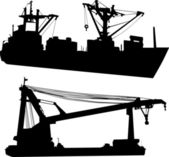 Two industrial ships illustration — Stock Vector