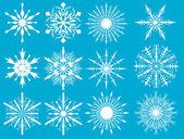 Witte sneeuwvlokken collectie op blauw — Stockvector