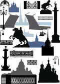 Saint-Petersburg silhouettes collection — Stock Vector