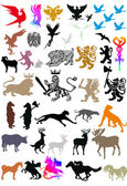 Isolated heraldic animals collection — Stock Vector