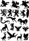 Set of isolated heraldic animals — Stock Vector
