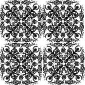 Four square black floral design — Stock Vector