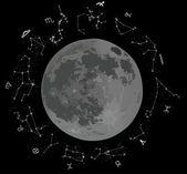 Luna y las constelaciones del zodíaco — Vector de stock