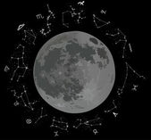 Zodiac constellations and moon — Vector de stock