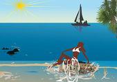 Relaxa mulher perto do mar com barco — Vetorial Stock