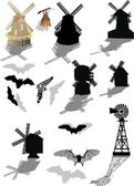 Bats and windmills isolated on white — Stock Vector
