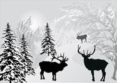 Deers in winter forest landscape — Stock Vector