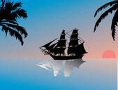 Puesta de sol sobre mar con barco — Vector de stock