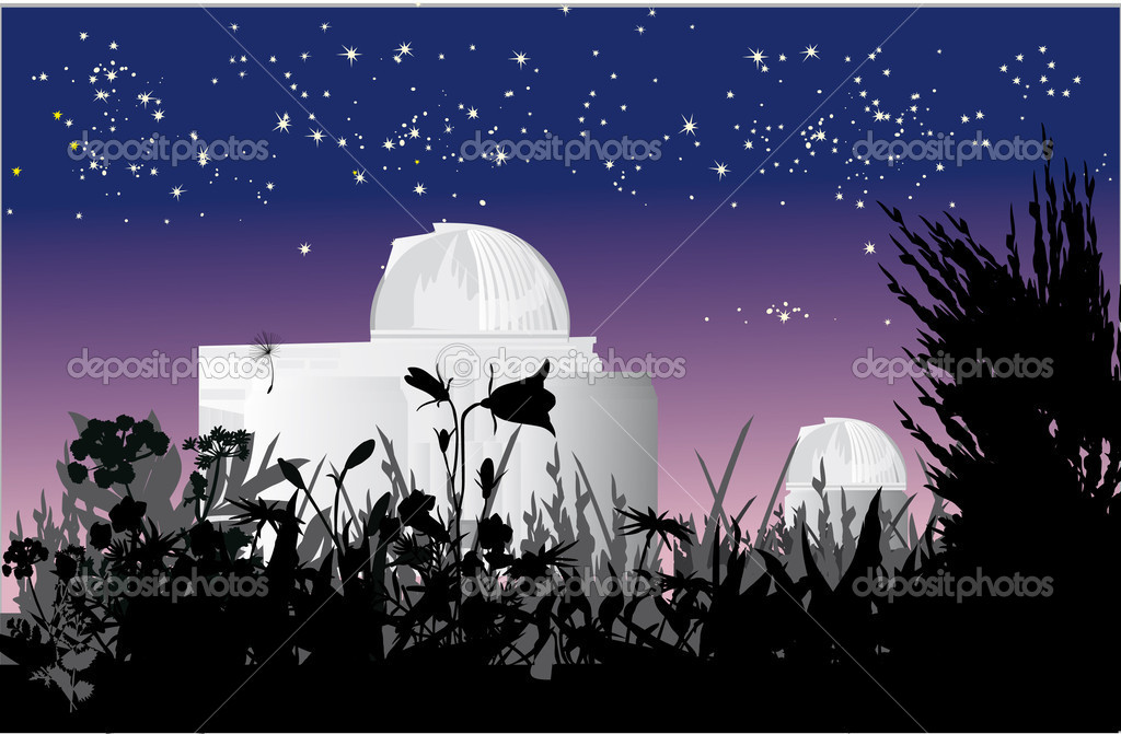 Illustration with astronomy observatory at nigth — Stock Vector #6415636