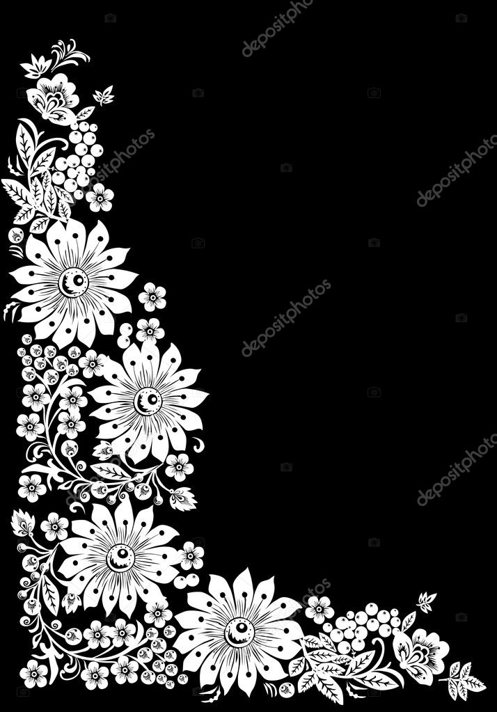 Flower Vector Black And White Corner White Big Flowers Corner