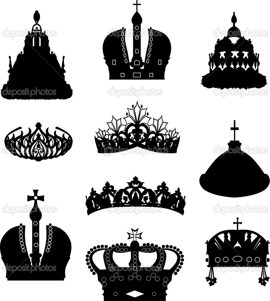 Illustration with crown collection isolated on white background — Stock Vector #6416125