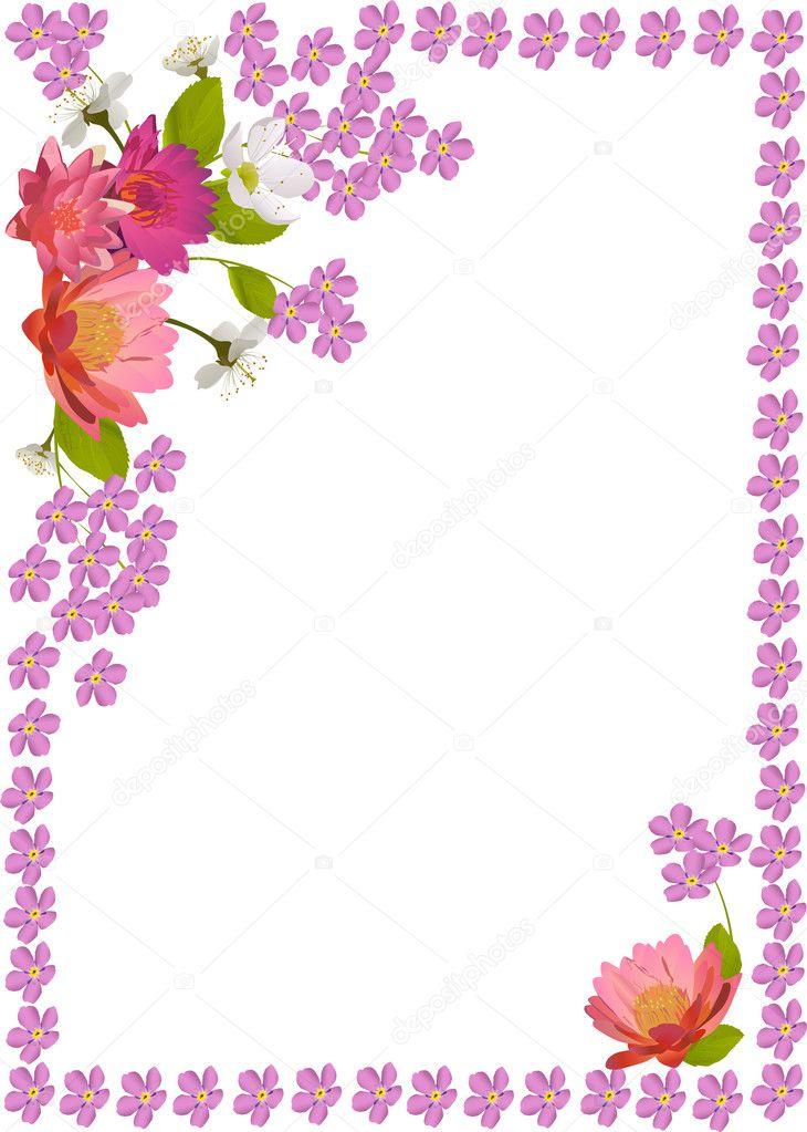 帧与粉色的小花 — 图库矢量图片