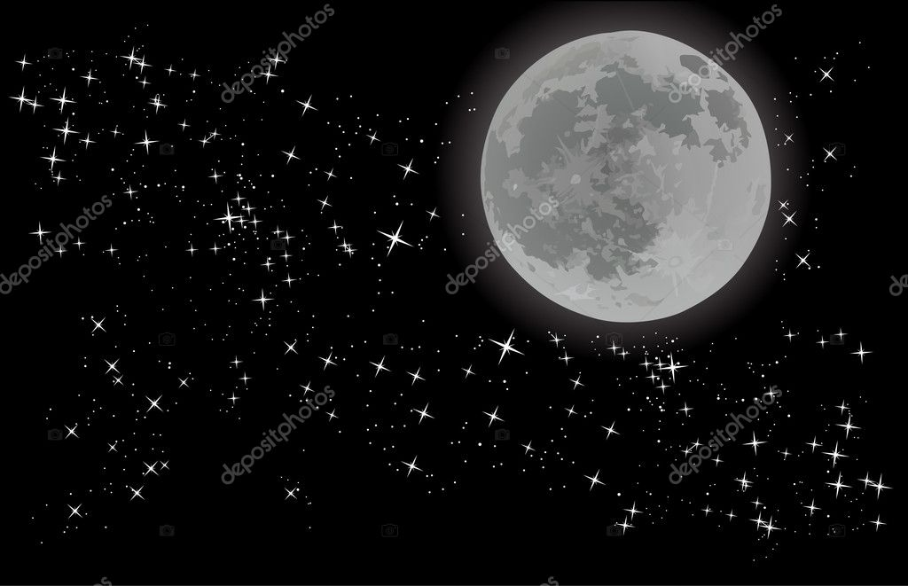 Full moon on sky with stars — Stock Vector © Dr.PAS #6416711