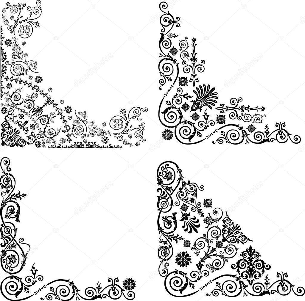 Stock Vector Dr Pas 6261329: Four Corner Decorations On White
