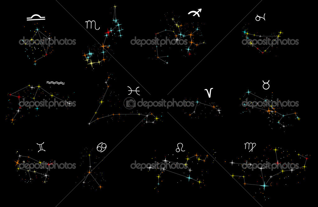 Illustration with zodiac constellations isolated on black background — Stock Vector #6417453