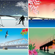Four seasons bridges illustration — Stock Vector