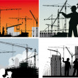 Four compositions with builder and crane silhouettes — Stock Vector