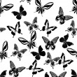 Background with black tropical butterflies - Image vectorielle