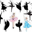 Isolated ballet dancers collection — Stock Vector