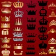 Stock Vector: Set of crowns on red