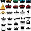 Stock Vector: Large set of crowns