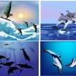 Stock Vector: Set of compositions with dolphins