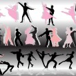 Different dancers and skaters collection — Stock Vector