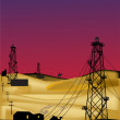 Operating oil wells in sand desert - Vektorgrafik