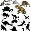 Large set of isolated dinosaurs — Stock Vector