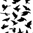 Eighteen pigeon silhouettes — Stock Vector #6649345