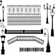 Stock Vector: Fences and street lamps collection