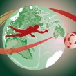 Soccer player and terrestrial globe — Stock Vector