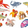 Eleven color fishes — Stock Vector